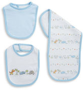 Little Me Three-Piece Safari Bib and Burp Cloth Set