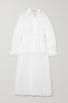 Noir Kei Ninomiya Cotton-poplin And Tulle Midi Shirt Dress - White