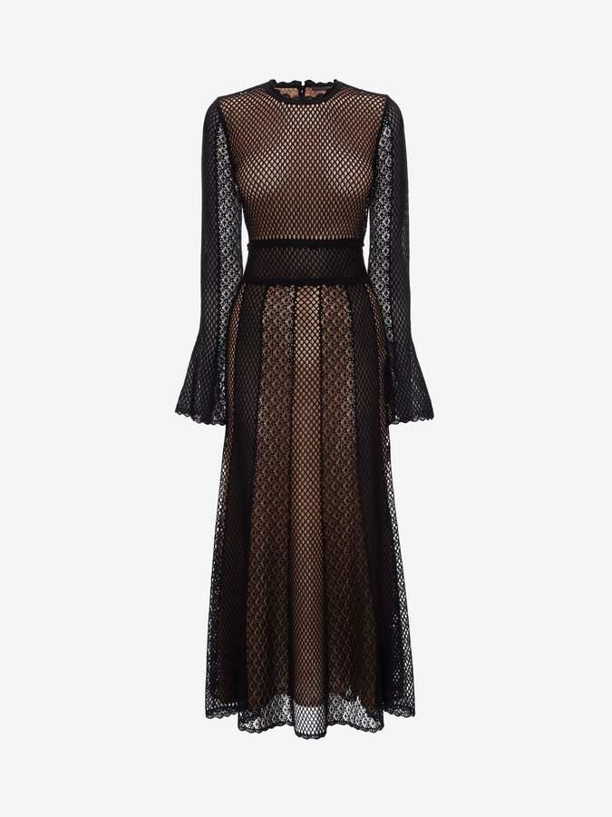 Alexander McQueen Mesh Patchwork Knit Dress