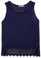 Aqua Girls' Crochet Hem Slubbed Tank - Sizes S-XL