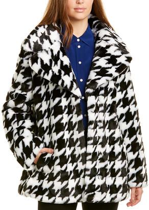 AVEC LES FILLES Houndstooth Fuzzy Coat