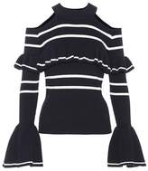 Self-Portrait Striped cotton-blend sweater