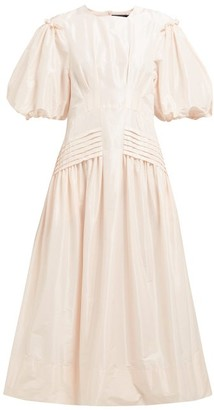 Simone Rocha Gigot-sleeve Taffeta Midi Dress - Womens - Light Pink