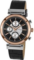 Jacques Lemans Verona 1-1699B Men's Chronograph Black Leather Strap Watch