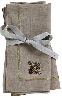 Joanna Buchanan Set of 2 Bee Dinner Napkins - Flax/Gold