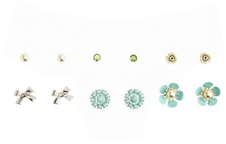 Charlotte Russe Floral Mix Stud Earring Set