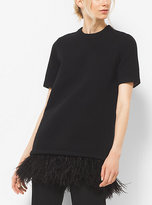 Michael Kors Ostrich Feather-Embroidered Cashmere T-Shirt