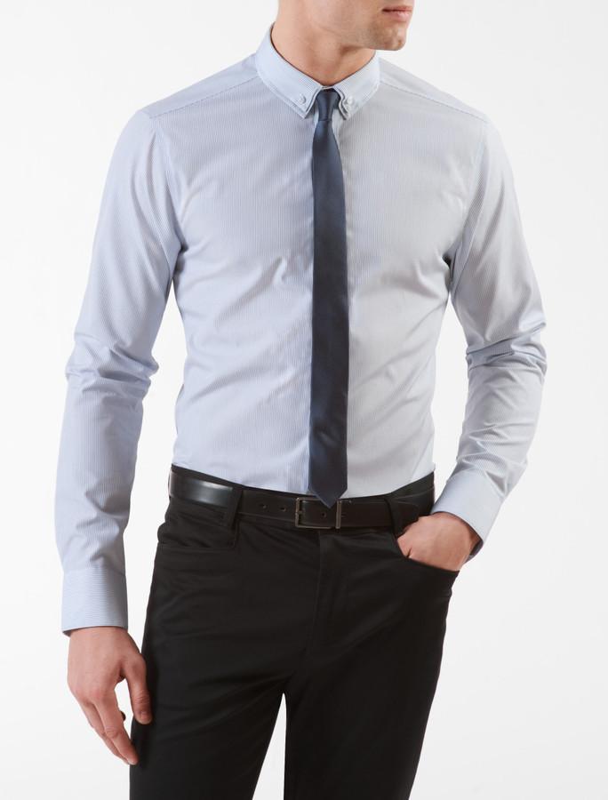 Calvin Klein Steel Slim Fit Non-Iron Double Collar Pinstripe Dress Shirt