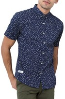 7 Diamonds Men's Editions Of You Trim Fit Short Sleeve Floral Print Woven Shirt