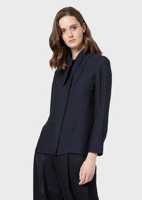 Emporio Armani Jacquard Silk-Blend Blouse With Tied Collar