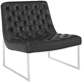 The Well Appointed House Contemporary Barcelona Lounge Chair in Black Upholstered with Inset Buttons