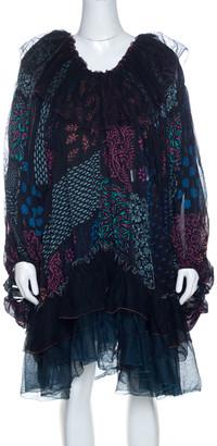 Chloé Multicolor Block Print Ruffle Trim Dress S