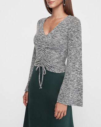 Express Glitter Cinched Front Bell Sleeve Top
