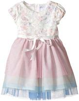Us Angels Applique w/ Print Mesh Cap Sleeve w/ Tulle Skirt (Toddler/Little Kids)