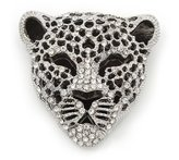 Avalaya Large Crystal 'Tiger' Brooch In Silver/Black Finish - 5cm Length