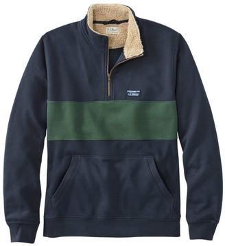 L.L. Bean Men's Sherpa Collar Quarter-Zip Sweatshirt, Colorblock