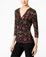 Charter Club Petite Floral-Print Faux-Wrap Top, Only at Macy's