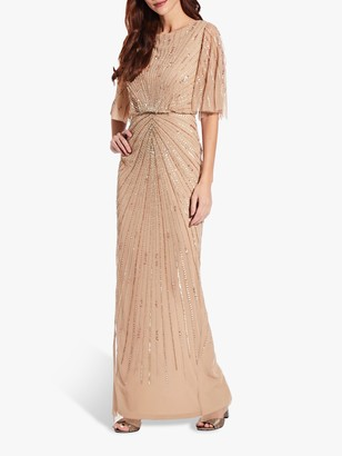 Adrianna Papell Beaded Flutter Gown, Gold Champagne