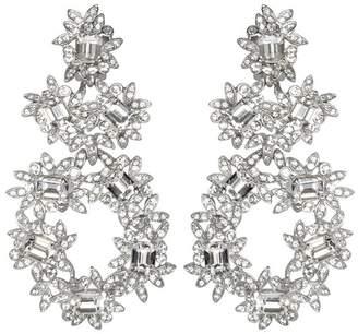 Kenneth Jay Lane Silver Crystal Flower Clip Earrings