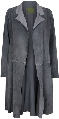 Zut London Long Classic Suede Leather Jacket With Side Pockets - Grey