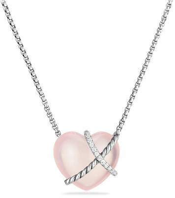 David Yurman Le Petit Coeur Sculpted Heart Chain Necklace with Milky Rose Quartz and Diamonds