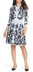 Eliza J Floral Fit & Flare Sweater Dress