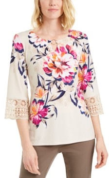 JM Collection Petite Crochet-Trim Tunic, Created for Macy's