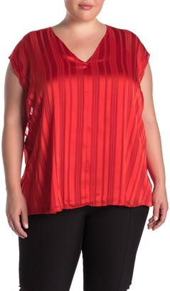 Rachel Roy May Sheer Stripe Print Cape Top (Plus Size)