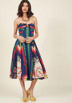 Anna Sui Unique New York Strapless Midi Dress in 8