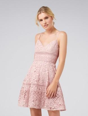 Forever New Selma Deep V-Neck Lace Prom Dress - Blush - 8