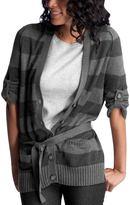Striped roll-sleeve cardigan