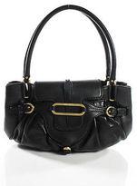 Jimmy Choo Black Leather Gold Tone Small Tulita Flap Satchel Handbag New