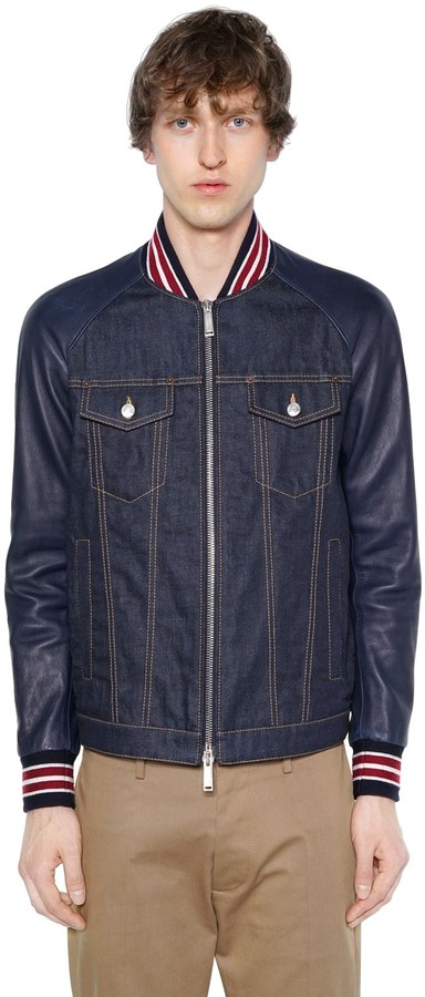 0846f2a32 DENIM BOMBER JACKET W/ LEATHER SLEEVES