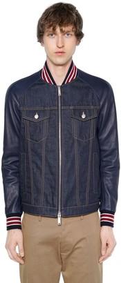 DSQUARED2 Denim Bomber Jacket W/ Leather Sleeves