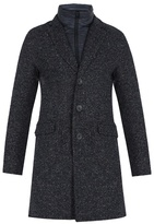 Herno Detachable-placket Single-breasted Tweed Coat