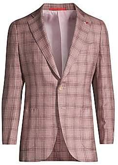 Isaia Men's Plaid Wool, Silk & Linen Jacket