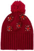 Le Chapeau flower embellished pompom beanie
