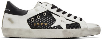 Golden Goose Black and White Mesh Superstar Sneakers