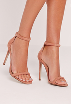 Missguided Rounded Strap Barely There Sandal Blush Pink