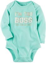 """Carter's Baby Girl I'm The Boss Until Mom Gets Home"""" Foiled Graphic Bodysuit"""