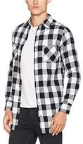Urban Classics Men's Side-Zip Long Checked Flanell Casual Shirt,Small