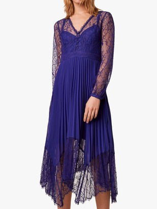 French Connection Bikita Lace Handkerchief Hem Dress, Clement Blue
