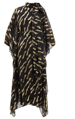 Taller Marmo Bizet Ruffle-trimmed Fil Coupe Chiffon Dress - Black Gold