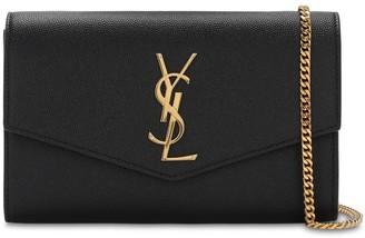 Saint Laurent Uptown Grained Leather Wallet Chain