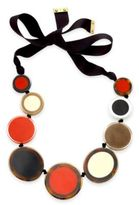 Kate Spade Gold-Tone Colored Circles Black Ribbon Statement Necklace