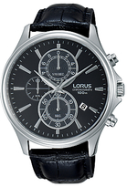 Lorus Rm313dx9 Chronograph Date Leather Strap Watch, Black