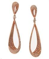 Effy Jewelry Effy Pave Rose 14K Rose Gold Diamond Drop Earrings, 3.30 TCW