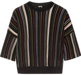 ADAM by Adam Lippes Striped Open-knit Cotton-blend Top - Black
