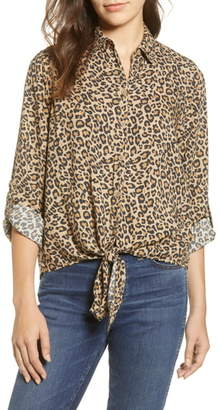 BeachLunchLounge Yumi Leopard Print Tie Front Rayon Top
