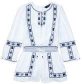 Ralph Lauren Girls' Embroidered Romper - Sizes 7-16